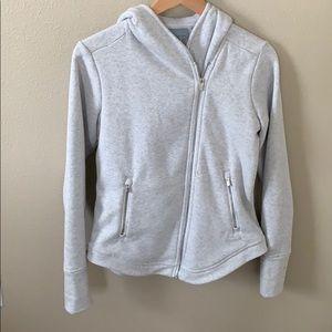 Athleta Plush Lined Side Zip Hoodie Grey Small